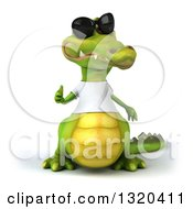 Clipart Of A 3d Casual Crocodile Wearing A White T Shirt And Sunglasses Giving A Thumb Up Royalty Free Illustration