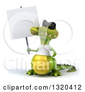 Clipart Of A 3d Casual Crocodile Wearing A White T Shirt And Sunglasses Holding A Blank Sign Royalty Free Illustration
