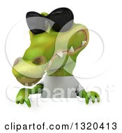 Clipart Of A 3d Casual Crocodile Wearing A White T Shirt And Sunglasses Pointing Down Over A Sign Royalty Free Illustration
