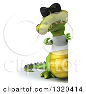 Clipart Of A 3d Full Length Casual Crocodile Wearing A White T Shirt And Sunglasses Pointing Around A Sign Royalty Free Illustration