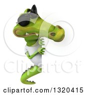 Clipart Of A 3d Casual Crocodile Wearing A White T Shirt And Sunglasses Looking Around A Sign Royalty Free Illustration