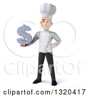 Clipart Of A 3d Young White Male Chef Holding A Dollar Symbol Royalty Free Illustration
