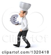 Clipart Of A 3d Young White Male Chef Walking To The Left And Holding A Euro Symbol Royalty Free Illustration