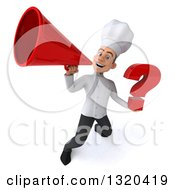 Clipart Of A 3d Young White Male Chef Holding A Question Mark And Announcing Upwards With A Megaphone Royalty Free Illustration