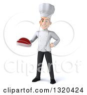 Clipart Of A 3d Young White Male Chef Holding A Beef Steak Royalty Free Illustration