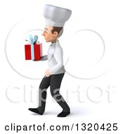 Clipart Of A 3d Young White Male Chef Walking To The Left And Holding A Gift Royalty Free Illustration