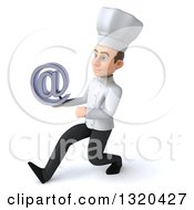 Clipart Of A 3d Young White Male Chef Speed Walking To The Left And Holding An Email Arobase At Symbol Royalty Free Illustration