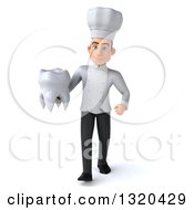 Clipart Of A 3d Young White Male Chef Walking With A Tooth Royalty Free Illustration