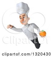 Clipart Of A 3d Young White Male Chef Flying With An Orange Royalty Free Illustration