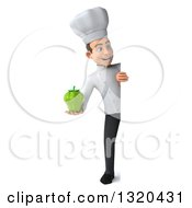 Clipart Of A 3d Full Length Young White Male Chef Holding A Gren Bell Pepper Around A Sign Royalty Free Illustration
