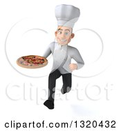 Clipart Of A 3d Young White Male Chef Sprinting With A Pizza Royalty Free Illustration