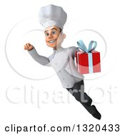 Clipart Of A 3d Young White Male Chef Flying And Holding A Gift Royalty Free Illustration