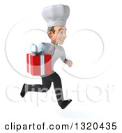 Clipart Of A 3d Young White Male Chef Sprinting To The Right And Holding A Gift Royalty Free Illustration