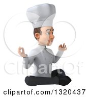 Clipart Of A 3d Young White Male Chef Meditating Facing Right Royalty Free Illustration