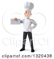 Clipart Of A 3d Young White Male Chef Holding An Envelope Royalty Free Illustration