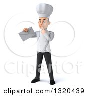 Clipart Of A 3d Young White Male Chef Thinking And Holding An Envelope Royalty Free Illustration