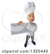 Clipart Of A 3d Young White Male Chef Holding Up An Envelope Royalty Free Illustration