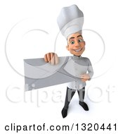 Clipart Of A 3d Young White Male Chef Holding Up An And Pointing To An Envelope Royalty Free Illustration