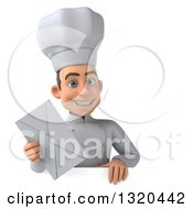 Clipart Of A 3d Young White Male Chef Holding An Envelope Over A Sign Royalty Free Illustration