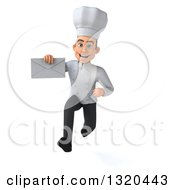 Clipart Of A 3d Young White Male Chef Sprinting And Holding An Envelope Royalty Free Illustration