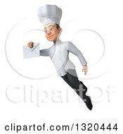 Clipart Of A 3d Young White Male Chef Flying And Holding An Envelope Royalty Free Illustration