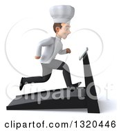 Clipart Of A 3d Young White Male Chef Facing Right And Sprinting On A Treadmill Royalty Free Illustration