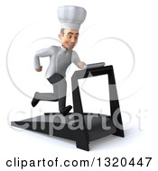 Clipart Of A 3d Young White Male Chef Facing Slightly Right And Sprinting On A Treadmill Royalty Free Illustration