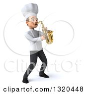 Clipart Of A 3d Young White Male Chef Playing A Saxophone Royalty Free Illustration