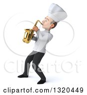 Clipart Of A 3d Young White Male Chef Playing A Saxophone 2 Royalty Free Illustration