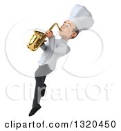 Clipart Of A 3d Young White Male Chef Flying And Playing A Saxophone Royalty Free Illustration