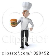 Clipart Of A 3d Young Black Male Chef Walking And Holding A Double Cheeseburger Royalty Free Illustration