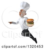 Clipart Of A 3d Young Black Male Chef Flying Pointing And Holding A Double Cheeseburger Royalty Free Illustration