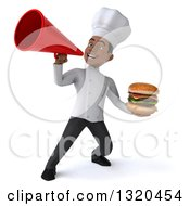 Clipart Of A 3d Young Black Male Chef Holding A Double Cheeseburger And Announcing With A Megaphone Royalty Free Illustration