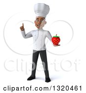 Clipart Of A 3d Young Black Male Chef Holding Up A Finger And A Strawberry Royalty Free Illustration