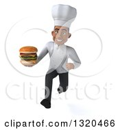 Clipart Of A 3d Young Black Male Chef Sprinting And Holding A Double Cheeseburger Royalty Free Illustration