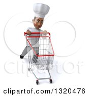 Clipart Of A 3d Young Black Male Chef Struggling With An Empty Shopping Cart Royalty Free Illustration