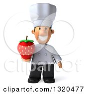 Clipart Of A 3d Short White Male Chef Holding A Strawberry Royalty Free Illustration