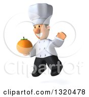 Clipart Of A 3d Short White Male Chef Facing Slightly Left Jumping And Holding A Navel Orange Royalty Free Illustration