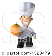 Clipart Of A 3d Short White Male Chef Walking And Holding A Navel Orange Royalty Free Illustration