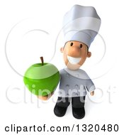 Clipart Of A 3d Short White Male Chef Holding Up A Green Apple Royalty Free Illustration