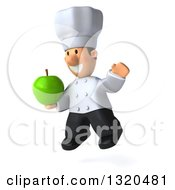 Clipart Of A 3d Short White Male Chef Facing Left Jumping And Holding A Green Apple Royalty Free Illustration