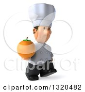 Clipart Of A 3d Short White Male Chef Walking To The Right And Holding A Navel Orange Royalty Free Illustration