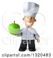 Clipart Of A 3d Short White Male Chef Holding A Green Apple Royalty Free Illustration