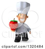 Clipart Of A 3d Short White Male Chef Walking And Holding A Strawberry Royalty Free Illustration