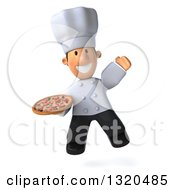 Clipart Of A 3d Short White Male Chef Jumping And Holding A Pizza Royalty Free Illustration