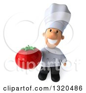 Clipart Of A 3d Short White Male Chef Holding Up A Tomato Royalty Free Illustration