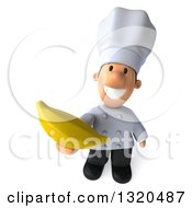 Clipart Of A 3d Short White Male Chef Holding Up A Banana Royalty Free Illustration
