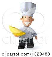 Clipart Of A 3d Short White Male Chef Walking And Holding A Banana Royalty Free Illustration