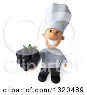 Clipart Of A 3d Short White Male Chef Holding Up A Blackberry Royalty Free Illustration