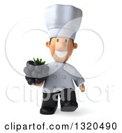 Clipart Of A 3d Short White Male Chef Walking And Holding A Blackberry Royalty Free Illustration